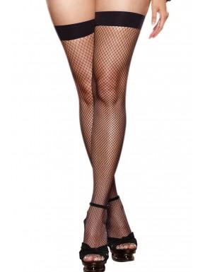 Bas résille grande taille noirs couture et noeuds pour jarretelles