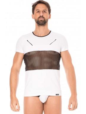 T-shirt blanc filet