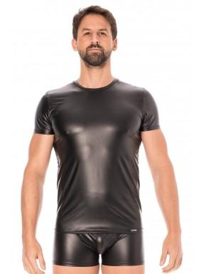 T-shirt simili cuir noir