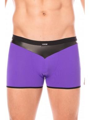 Boxer violet simili cuir brillant