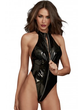 Body string noir fétichiste en latex extensible