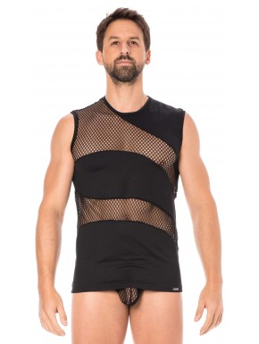 T-shirt débardeur noir col rond opaque et transparent avec fines rayures