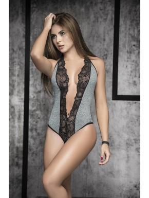 Body gris sexy décolleté profond bordures dentelle noire