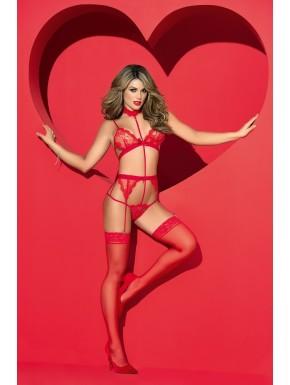 Ensemble sexy rouge avec un porte-jarretelles; Le soutien-gorge, le tour de cou et le string sont reliés entres eux de façon sub