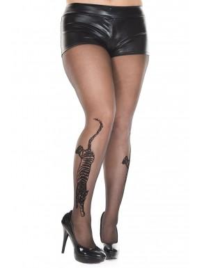 Collant grande taille en nylon noir tigre tatouage - MH7249XBLK