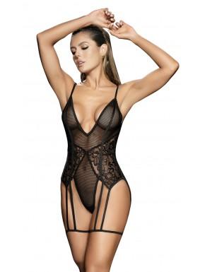Body noir avec porte jarretelles - MAL8606BLK