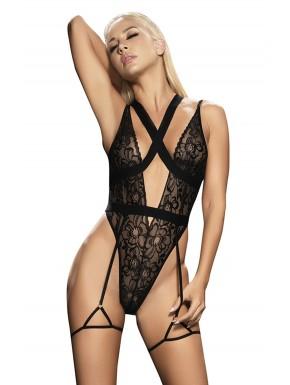 Body noir avec porte jarretelles - MAL8605BLK