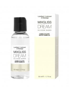 2 en 1 Lubrifiant et huile de massage silicone Mixgliss Dream Camelia blanc 50 ML - MG2528