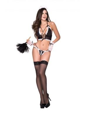 """Costume """"french maid"""", quatre pièces (top, panty, gants et coiffe)"""
